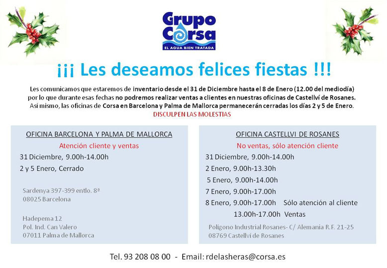 Horarios de Navidad de las oficinas Corsa en Barcelona, Palma de Mallorca y Castellví de Rosanes
