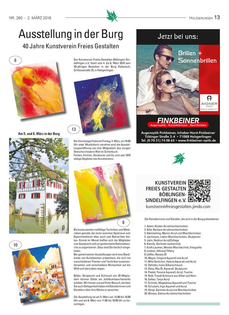 Marktblatt Holzgerlingen - Zeitung der Holzgerlinger Unternehmer im Handels- und Gewerbeverein Holzgerlingen e.V.