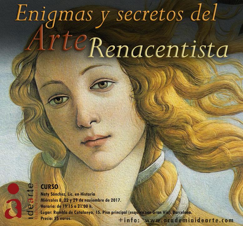 cursos; Barcelona; Renacimiento; Italia; Florencia; Botticelli; Leonardo; Miguel Ángel;
