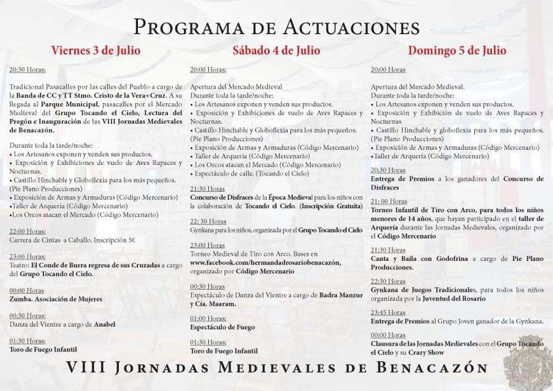 Programa Jornadas Medievales en Benacazón