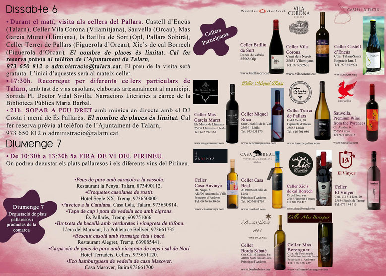 Programa de la Fira del Vi del Pirineu en Talarn