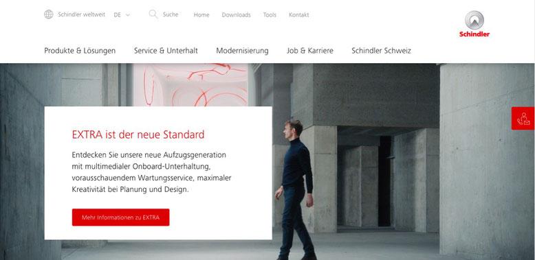 Neue Struktur und Inhalte für die  Schindler Website