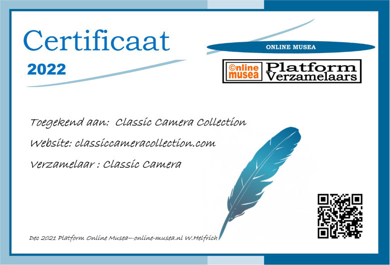 Certificaat Classic Camera Collection
