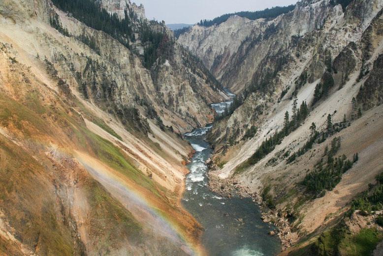 Blick von den Lower Falls auf den Grand Canyon of theYellowstone