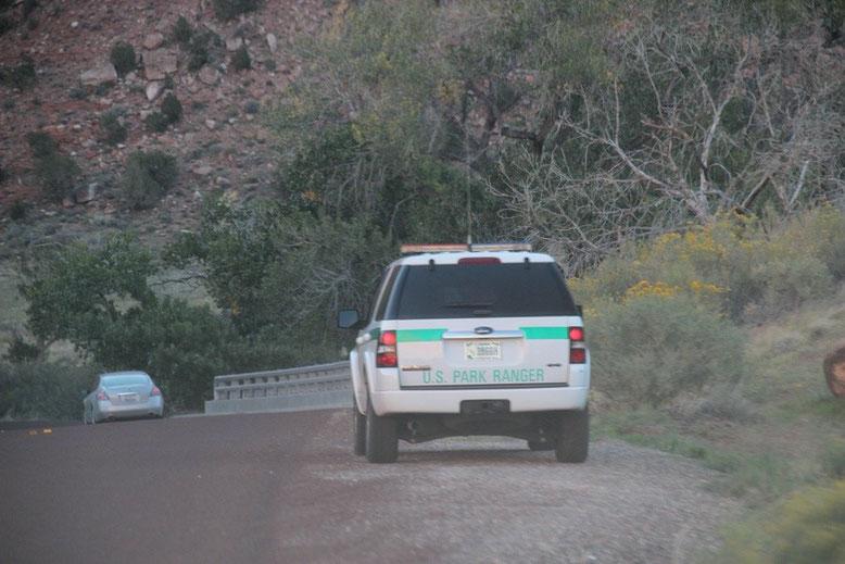 Ranger sind im Einsatz ungezogene Touristen zu ermahnen, man zeigt Präsens