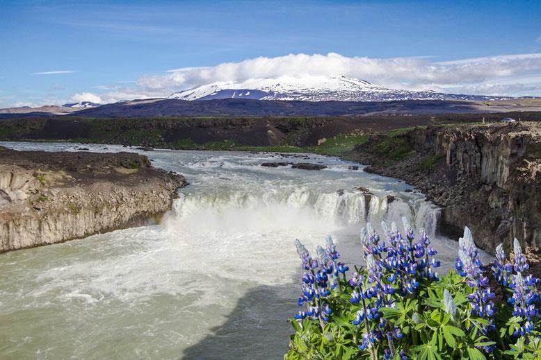 Der Wasserfall Þjófafoss vor dem Vulkan Hekla
