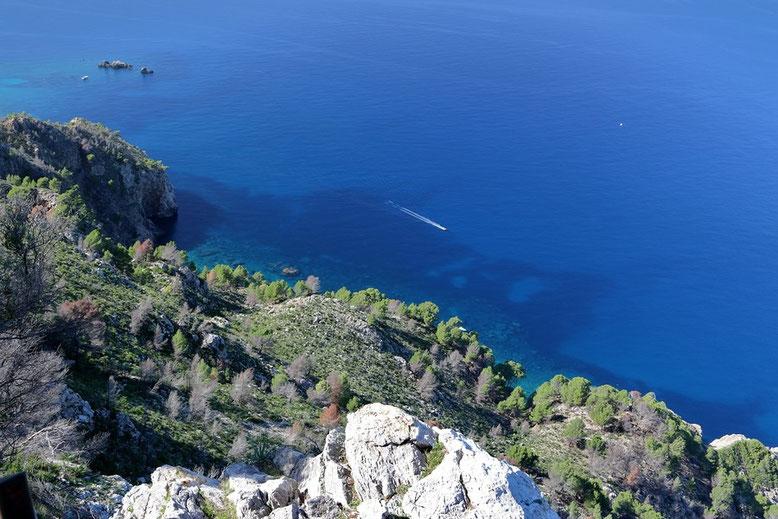 """Mallorca MA-10, Aussicht von der Aussichtsplattform am """"Restaurante Es grau"""""""