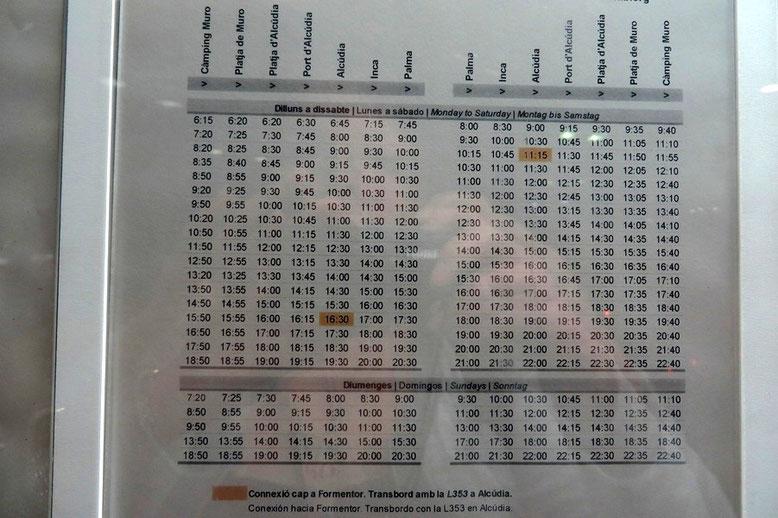 Fahrplan Alcudia - Palma
