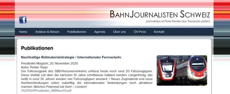 Bahnjounalisten Schweiz P. Trippi