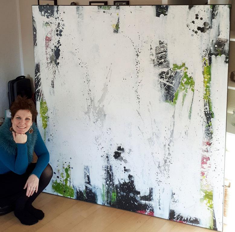 abstrakte große Gemälde weiß