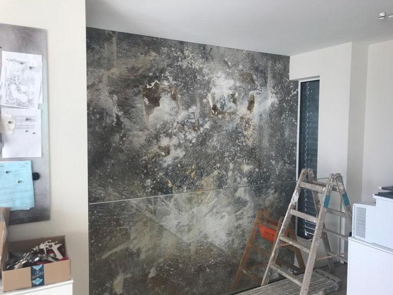 abstrakte große Gemälde für Wand grau Luxus