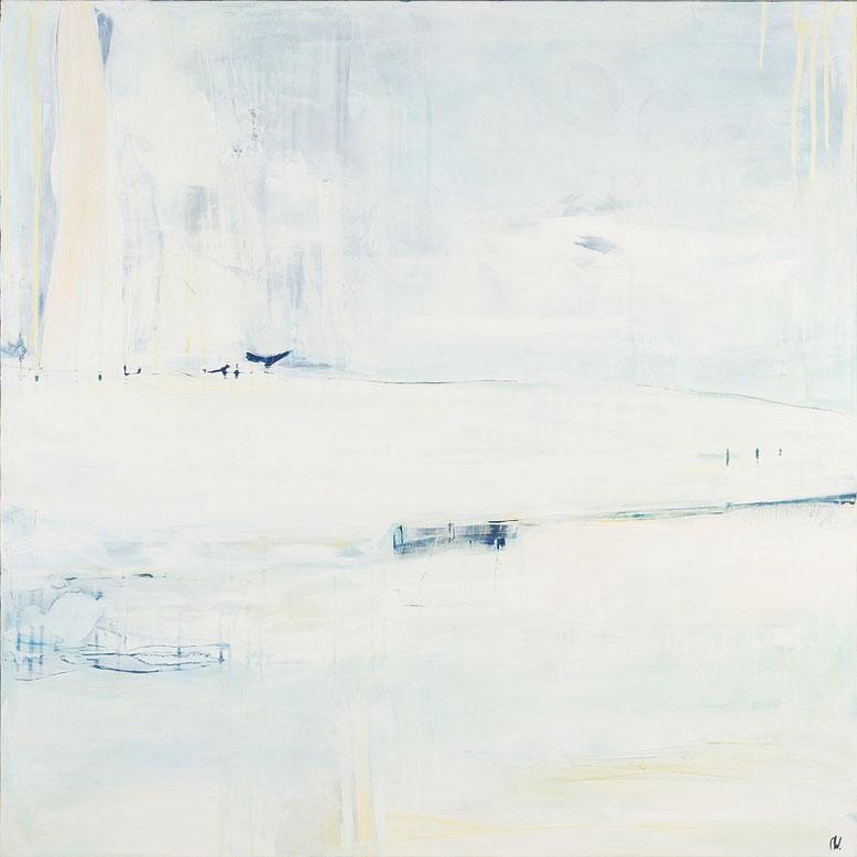 weißes abstraktes gemälde