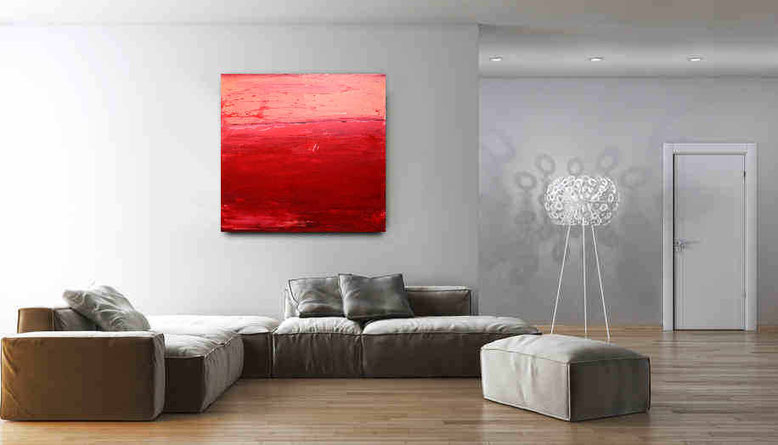 rotes Bild über sofa