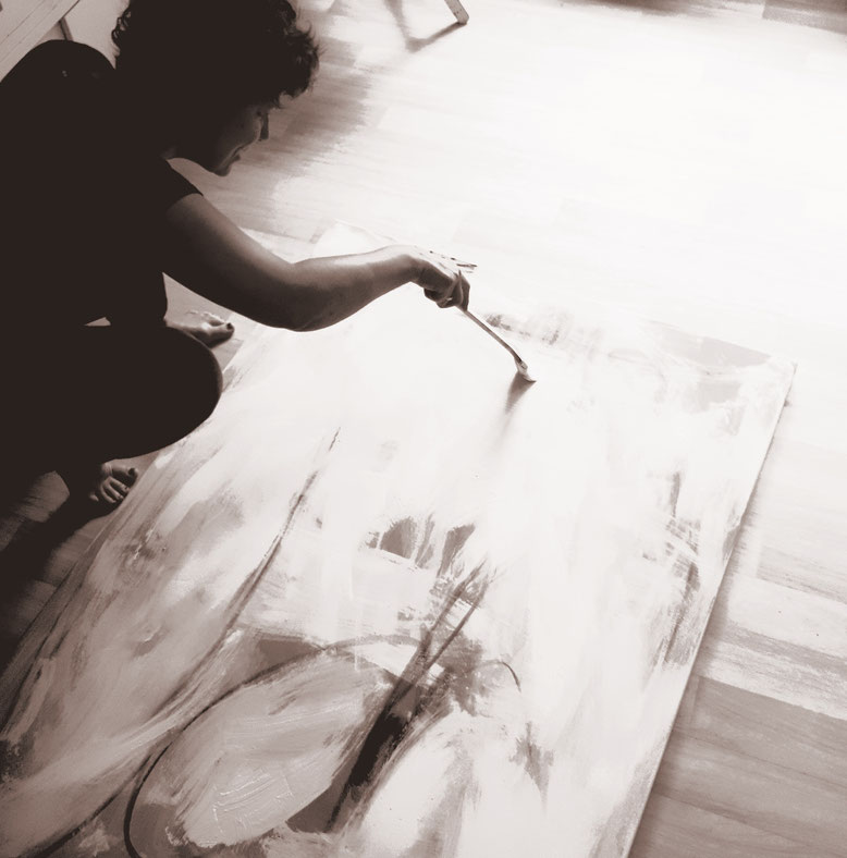 Weisses großes Gemälde