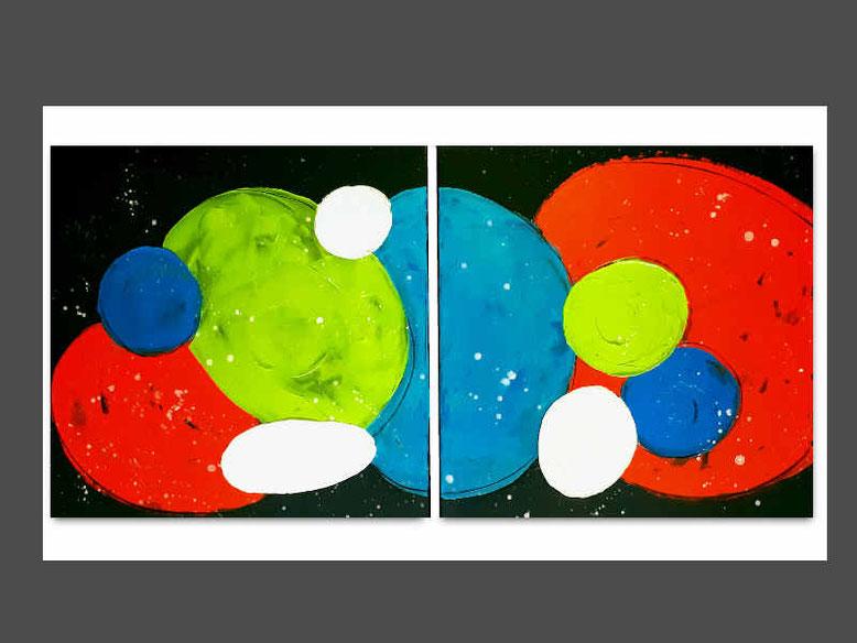 moleküle der Freundschaft - schwarzer Hintergrund, weiss grün rot/orange blau