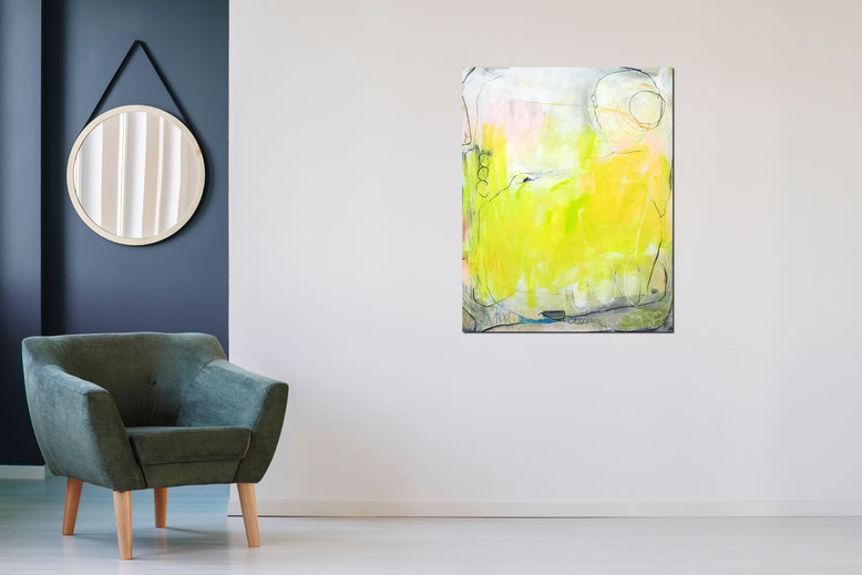 abstraktes Gemälde gelb grün - Sommertag 2