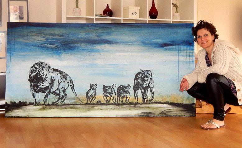 gemalte Löwenfamilie