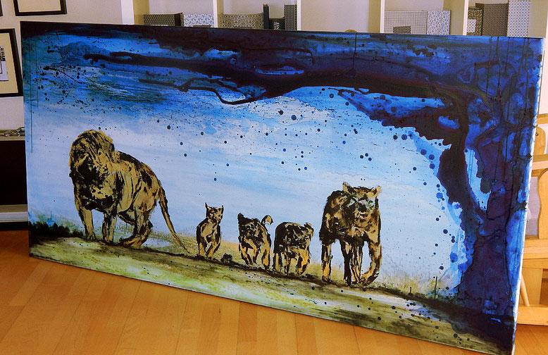 löwenfamilie auf Leinwandbild