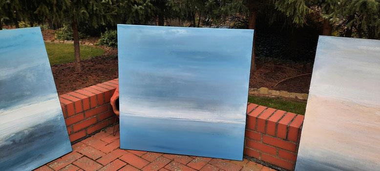 Landschaftsbild Segelboot blau