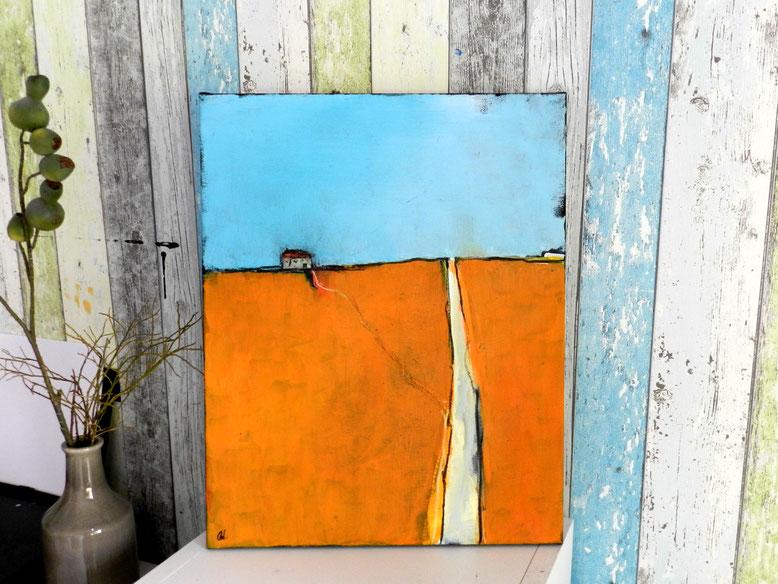Landschaftsbild gemalt orange hellblau