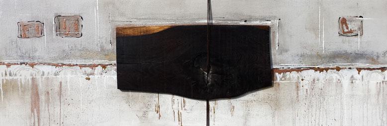 """ Natur trifft Kunst 2 "" - 50 x 160cm - Acryl, Quarzsand, Eiche (Eichenholzmanufaktur Hugo Kämpf) , Leder auf Leinwand - Preis auf Anfrage"