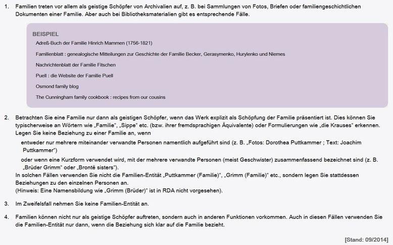 Screenshot mit der Erläuterung zur Verwendung der Entität Familie (RDA 19.2.1.1 D-A-CH)