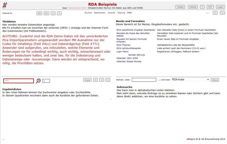 Screenshot der Einstiegsseite der RDA-Beispieldatenbank von Bernhard Eversberg