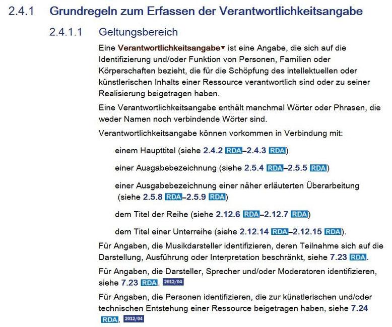 Screenshot aus dem RDA Toolkit mit den Verweisungen auf 7.23 und 7.24 bei der Verantwortlichkeitsangabe