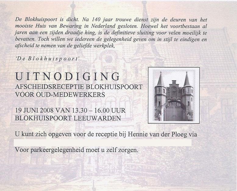 Afscheidsreceptie Blokhuispoort