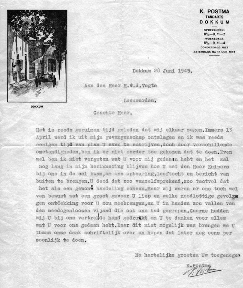 Brief tandarts K.Postma aan Herman ven der Vegte