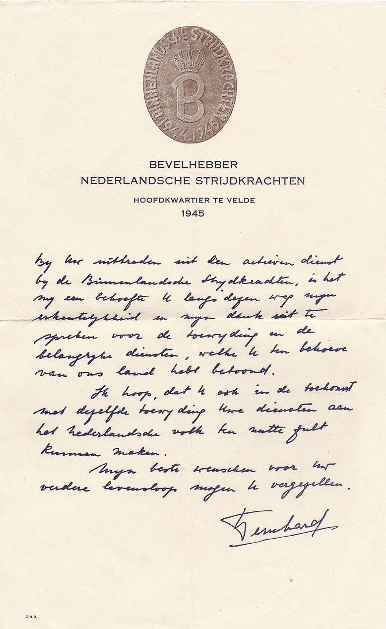 Bedankbrief prins Bernhard
