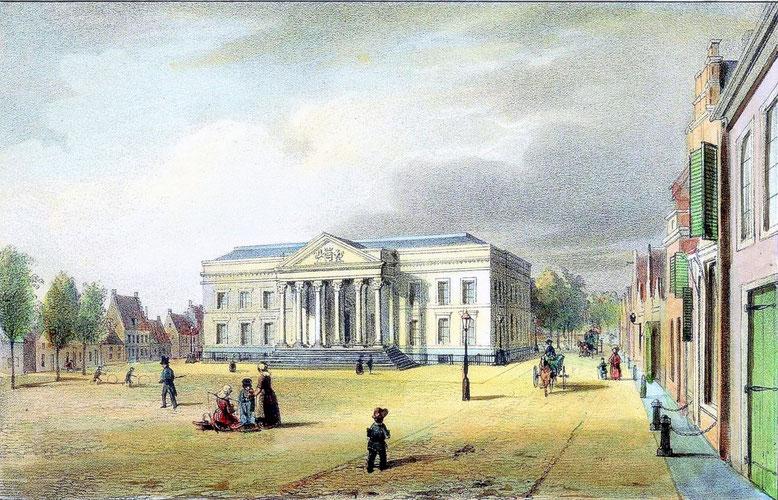 Paleis van Justitie te Leeuwarden rond 1850