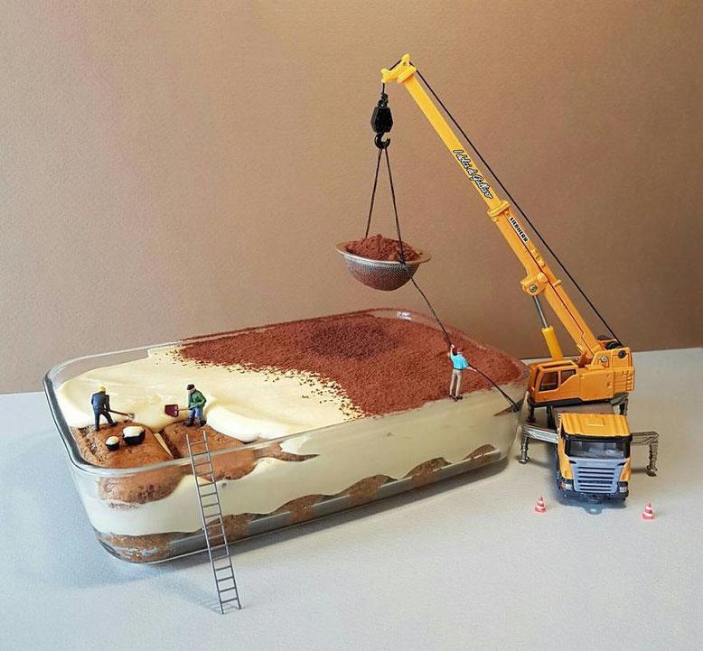 Un Tiramisu trasformato in un cantiere in miniatura (Photo by Matteo Stucchi)