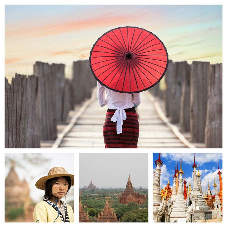 Viaggio di gruppo in Birmania. Collage 2