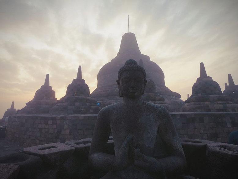 Yogyakarta - Alba al tempio di Borobudur