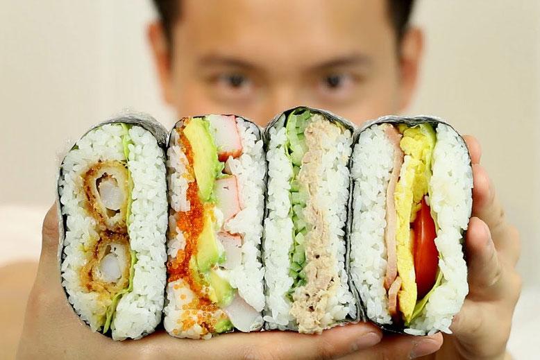 Ricetta giapponese Onigirazu Sushi sandwich