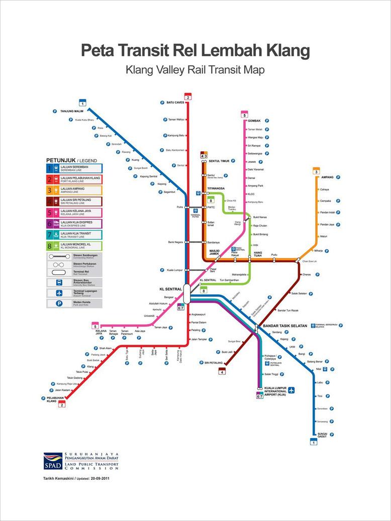 Mappa della Metro e della Monorotaia di Kuala Lumpur