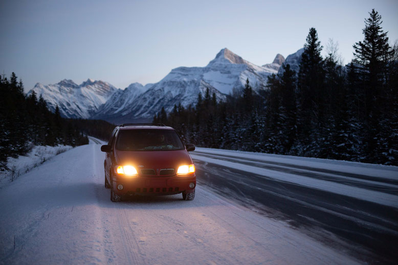Canadian Rockies in Winter Road Conditions