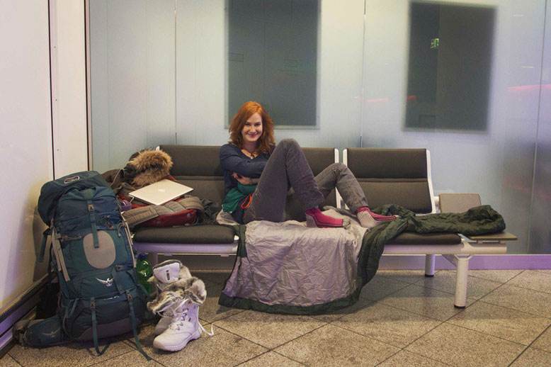 My luxurious sleeping corner at the airport in Munich. Waiting for my morning flight to Iceland.