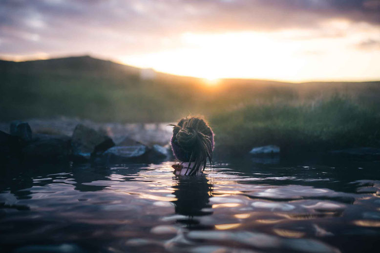 Visit Iceland in Spring sunset hot springs