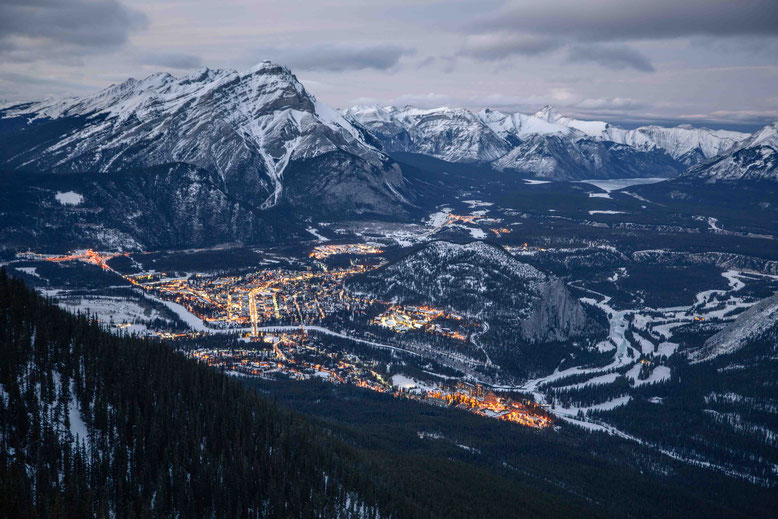 Views of Banff from Sulphur Mountain gondola winter