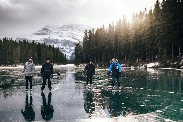 Things to do in Banff in Winter - Ice skating at Two Jack Lake at the end of November