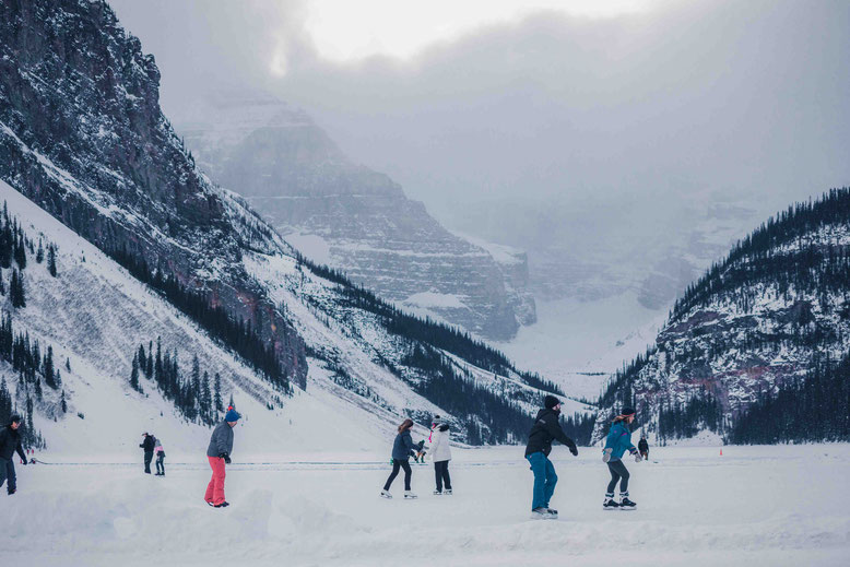 Banff in Winter - ice skating at Lake Louise