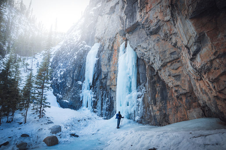 Grotto Canyon ice walk to ice falls- winter hikes Banff Canmore
