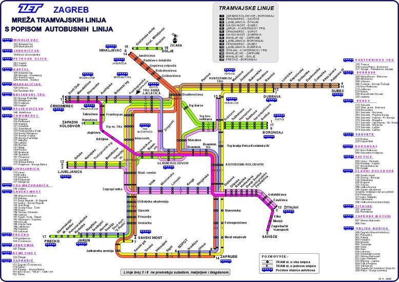 Карта автобусов и трамваев в Загребе. Хорватия. Маршрутное расписание общественного транспорта.