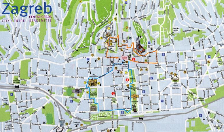 Карта Загреба. Достопримечательности Загреба