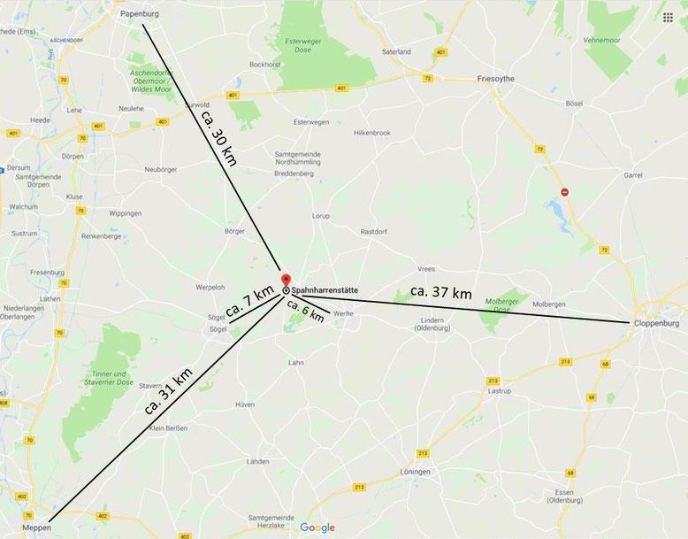 Entfernung zu größeren Städten Papenburg, Cloppenburg, Meppen; Meyer Werft, Museumsdorf Cloppenburg, Freilichtbühne Meppen