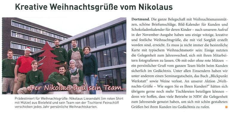"""Tischler-Fachmagazin """"Perspektiven"""", Ausgabe 2/2016, Tischlerei Feinschliff, Nikolauskarte"""