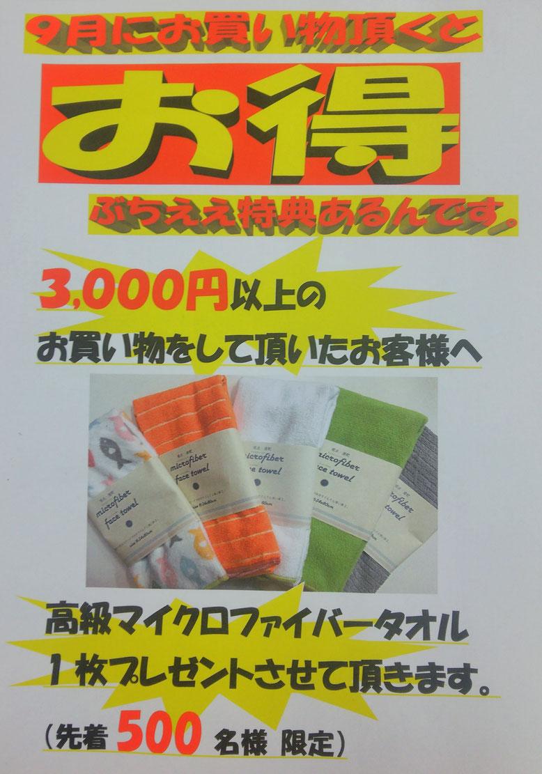 3000円以上お買い物頂いたお客様に、吸水性抜群のマイクロファイバータオルをプレゼント中!!