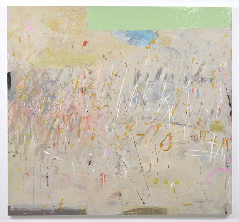 "Ouroboros, acrylic, gouache, oil stick, oil enamel, drawing media & collage on panel, 50""x 54"", 2019. Available"